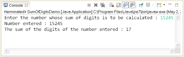 write a program to print sum of digits of a number in java