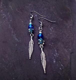 Blue, Silver Feather Earrings