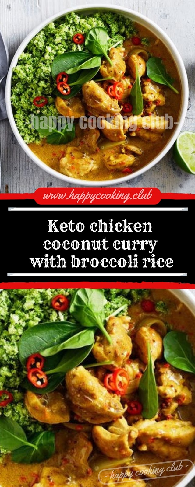 Keto chicken coconut curry with broccoli rice