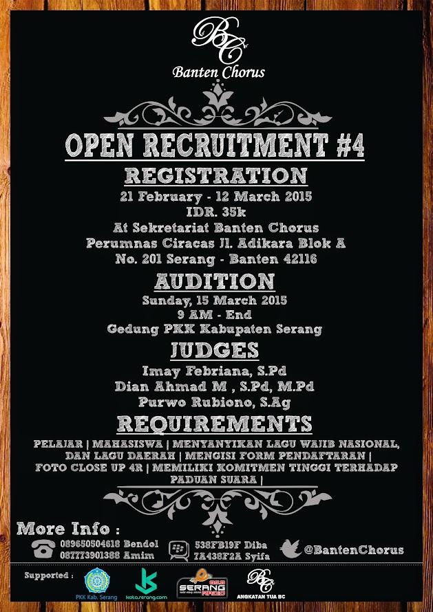 Open Recruitment Banten Chorus Generation 4