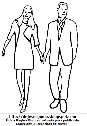 Dibujo de personas: Pareja agarrados de la mano para colorear pintar e imprimir. Dibujo de personas hecho por Jesus Gómez