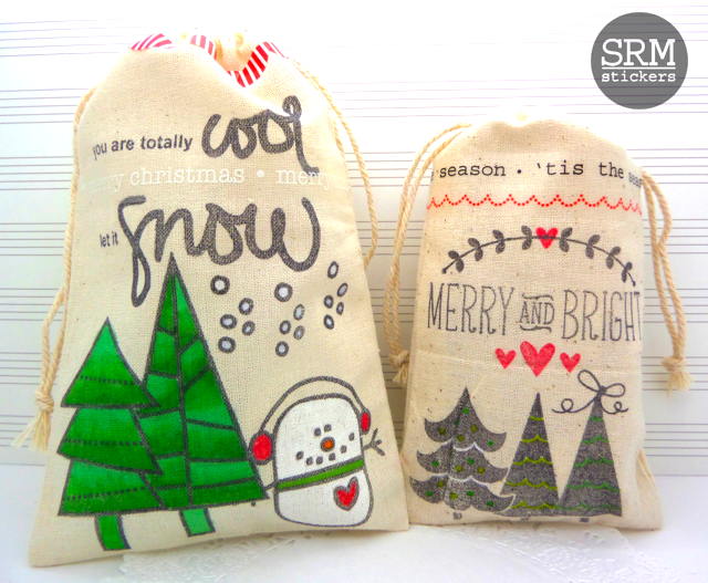 SRM Stickers Blog - Holiday Gift Bags by Annette - #DIY #giftbags #muslinbags #stickers