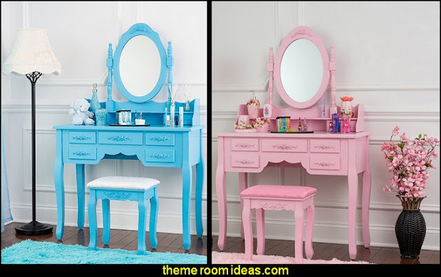 Vanity Set with Stool & Mirror Makeup Table with 7 Organization Drawers