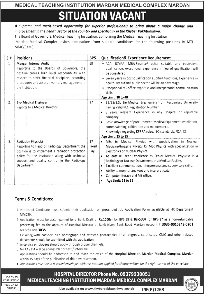Medical Teaching Institution Jobs MTI Mardan Medical Complex