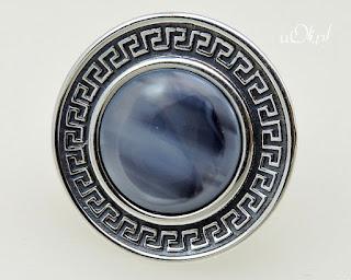 Pierścionek szkło murano w meandrach ze srebra