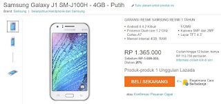 Harga Samsung Galaxy J1 Android murah 1 jutaan