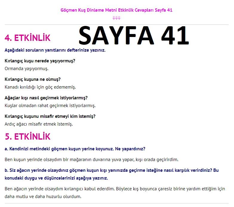 3. Sınıf Türkçe Çalışma Kitabı Cevapları Dikey Yayınları Sayfa 41