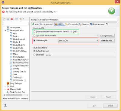How to find on which JRE version your program in running Eclipse