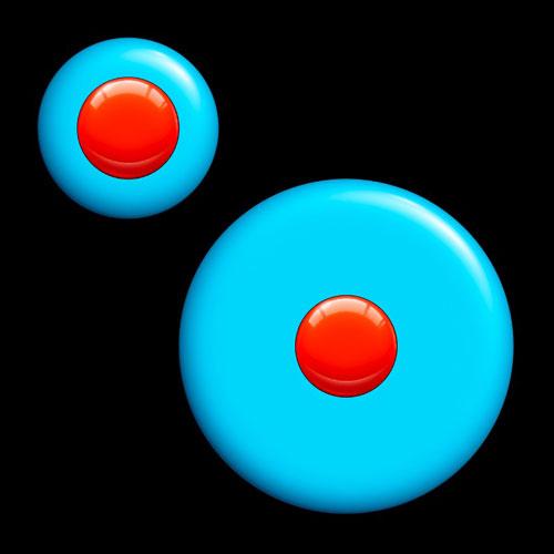 Büyük ve küçük mavi daireler içindeki aynı boyutlu kırmızı renkli daireler