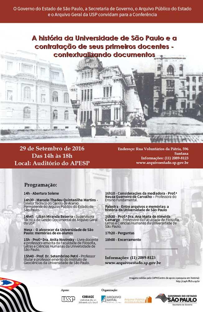 """Conferência """"A história da Universidade de São Paulo e a contratação de seus primeiros docentes – contextualizando documentos"""""""