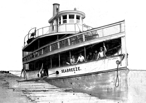 The Seabreeze, launched in 1907 in a Niagara Street shipyard, & owned by Charles and  Frank Fix, had an original capacity for 600 passengers, later lowered to 300, due to stricter  maritime safety codes. The Seabreeze ran for several years between the foot of Ferry Street and  the Bedell House, ending its career on regularly scheduled trips around Grand Island. The Fix Brothers sold it in 1946.
