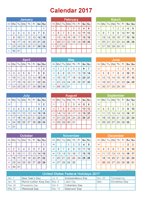 Printable Calendar 2016: 2017 Federal Holidays Calendar | USA UK ...