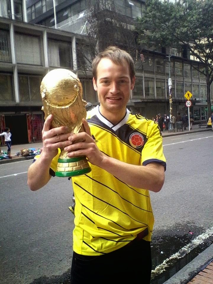 Wrong Way in the Colombian jersey with the 'World Cup trophy'.