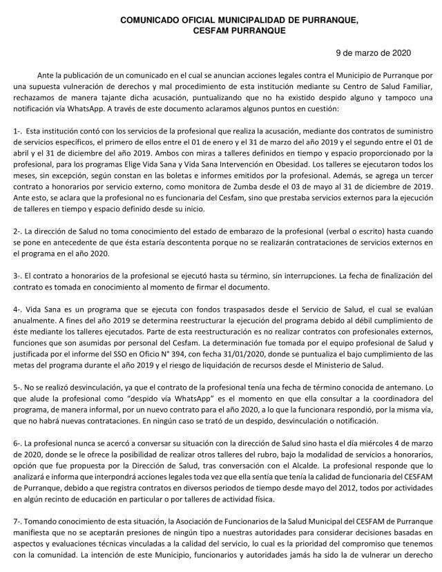 Rechazan acusación en contra de la Municipalidad de Purranque por despido