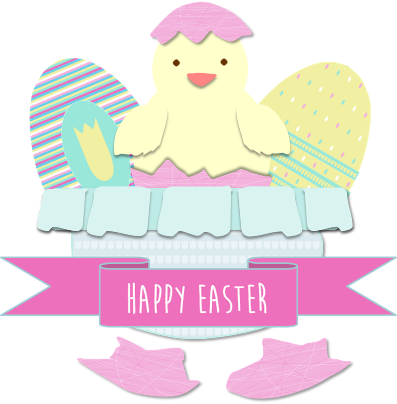 Happy Easter eggs and Little chicken drawing