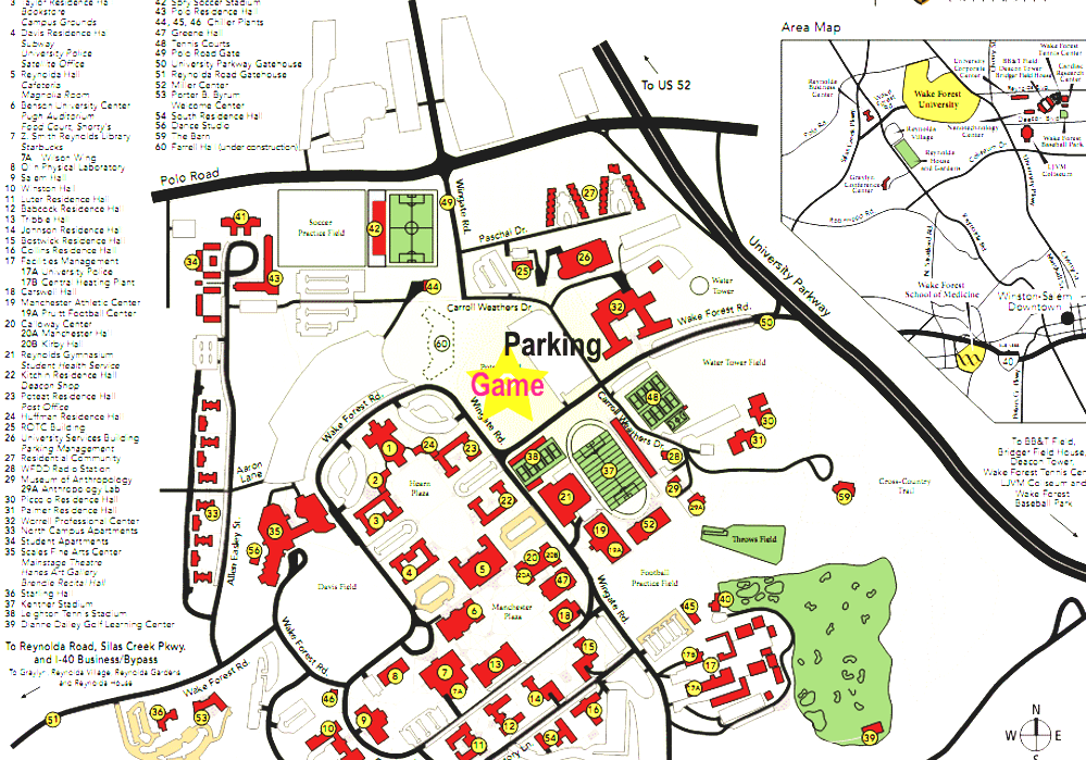 Wake Forest University Wake Forest Campus Map