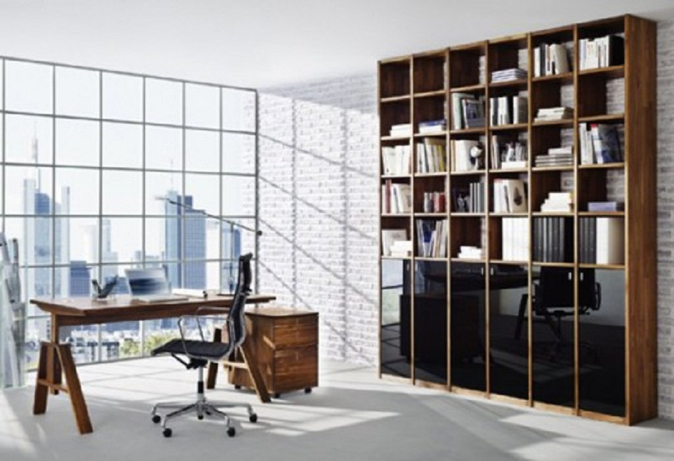 Amazing Workplace Design with Glass Wall and Wooden Table
