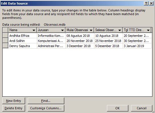 Masukan data di dalam field pada mail merge