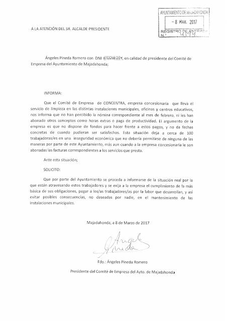 CONCENTRA - Escrito presentado en Registro del Ayuntamiento de Majadahonda
