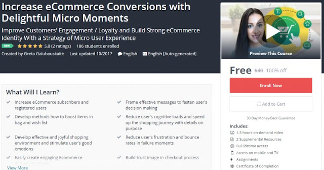 [100% Off] Increase eCommerce Conversions with Delightful Micro Moments| Worth 40$