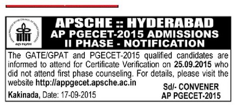 AP PGECET 2nd Final Phase Certificate Verification,Counselling Dates,Helpline Centers