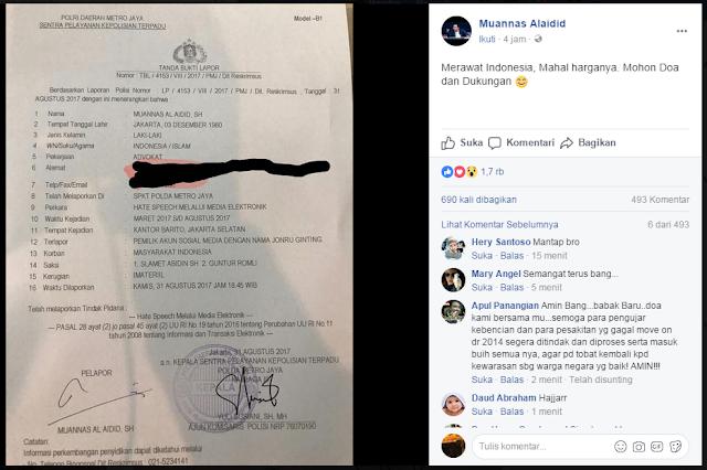 Foto surat laporan kepolisian yang diunggah oleh pemilik akun Facebook Muannas Alaidid, Kamis, 31 Agustus 2017
