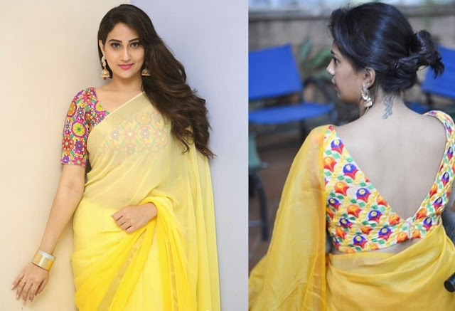 2d72f59dee2d44  38 Plain saree with bell style frill sleeve blouse designs