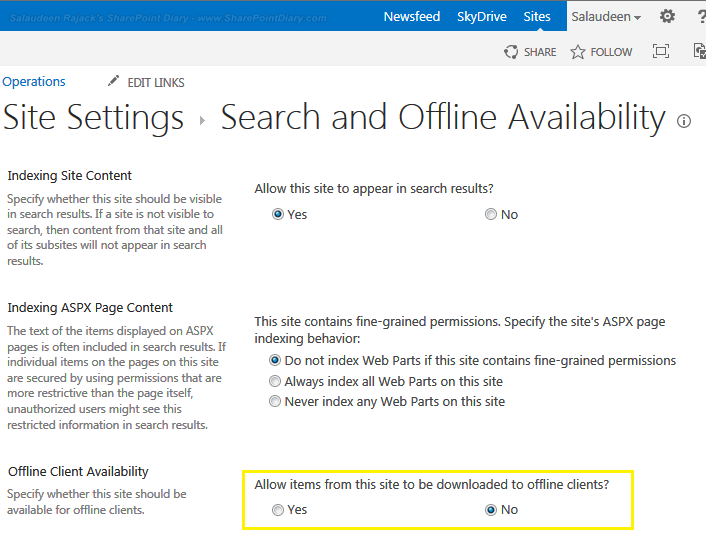disable sync in SharePoint library
