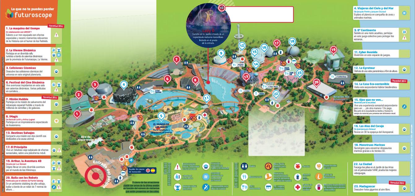 Mapa de Futuroscope 2014.