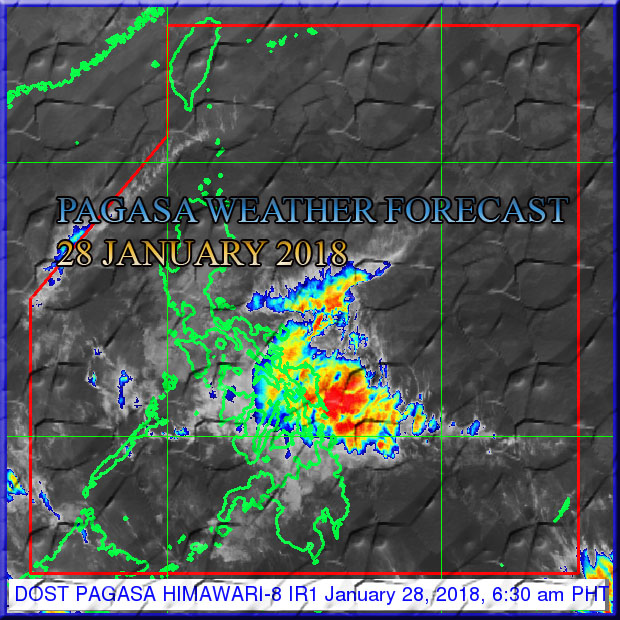 Shown in the image the Tail-end of Cold Front affecting CALABARZON, MIMAROPA, Bicol Region, Visayas and Caraga