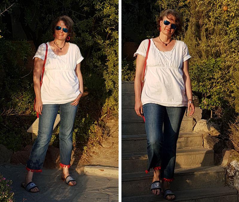 Weiße Tunika zur cropped Jeans auf Kos 2017