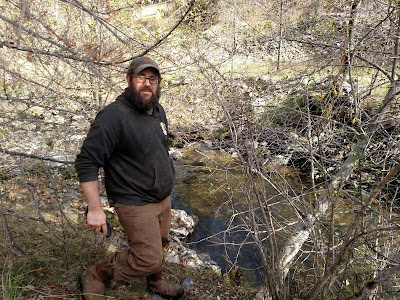 Bryan Souza restoring salmon spawning pools at China Creek, Siskiyou County, California