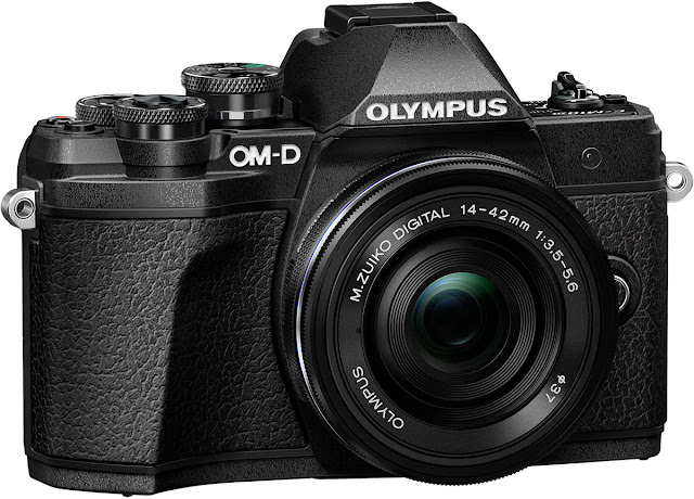 The New Olympus OM-D E-M10 Mark III in black with the 14-42mm EZ pancake lens