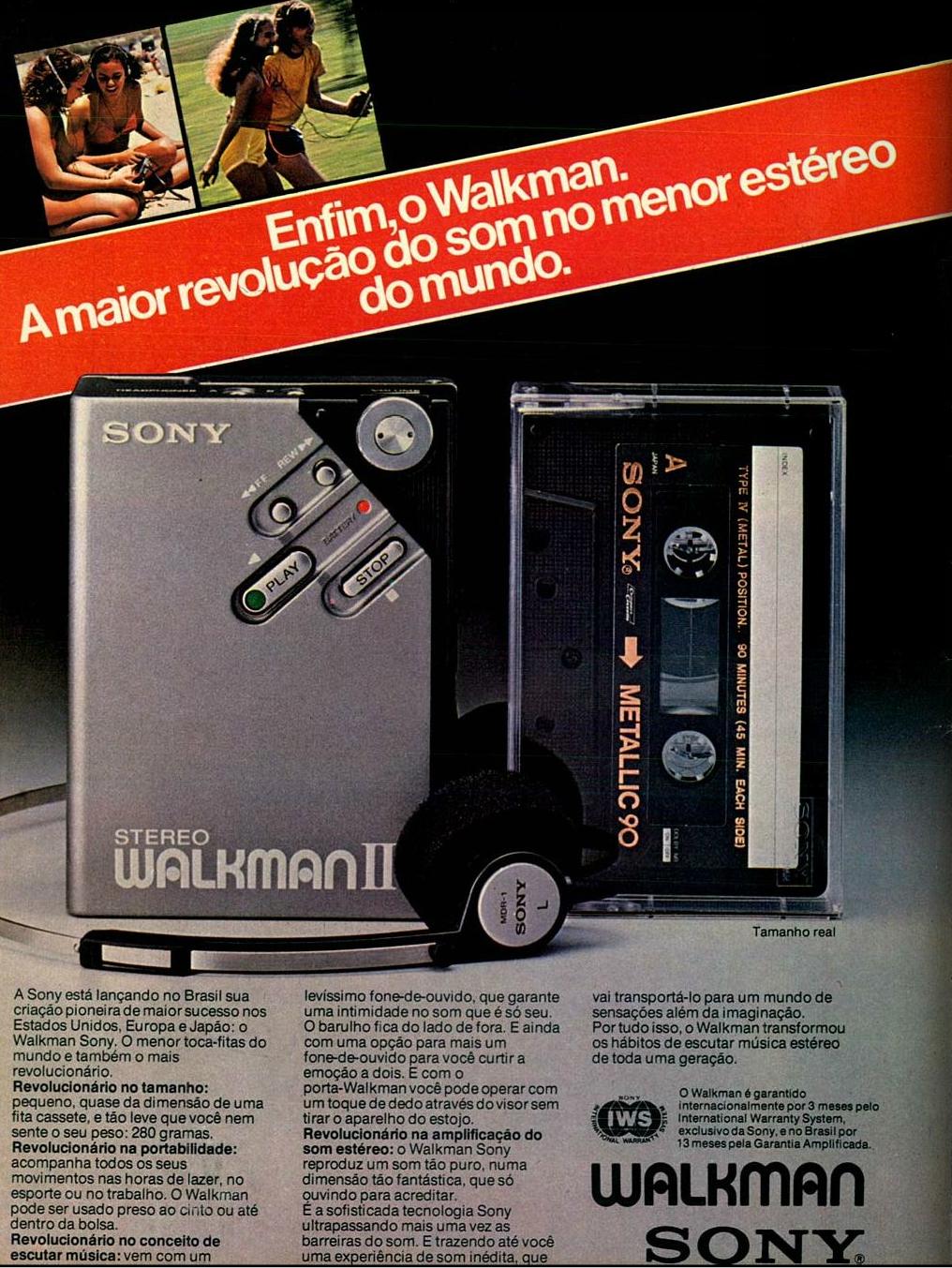 Propaganda antiga da Sony apresentando seu novo modelo de walkman em 1982
