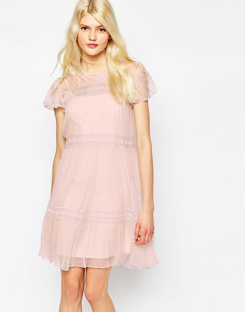 needle thread pink mini dress, needle thread pink layered dress, pink chiffon dress,