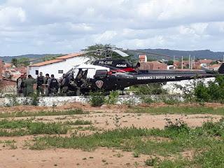 Em Cuité, Polícia conta com apoio do Helicóptero Acauã na busca por assaltantes do Bradesco