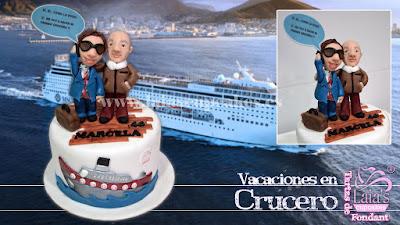 Tarta personalizada fondant crucero viaje barco vacaciones Laia's Cupcakes Puerto Sagunto