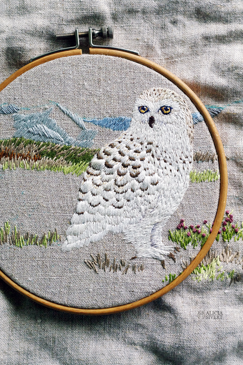 aliciasivert alicia sivert sivertsson broderi broderier brodera embroidery needlework hoop art fritt free hand embroidery uggla fjälluggla schattérsöm long and short stitches