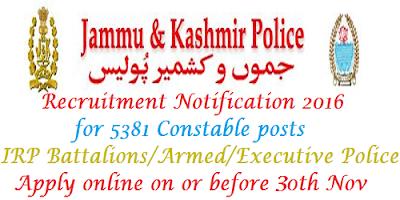 J & K Police Constable Recruitment 2016