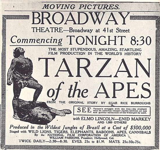 Tarzan of the Apes newspaper advertising January 27, 1918