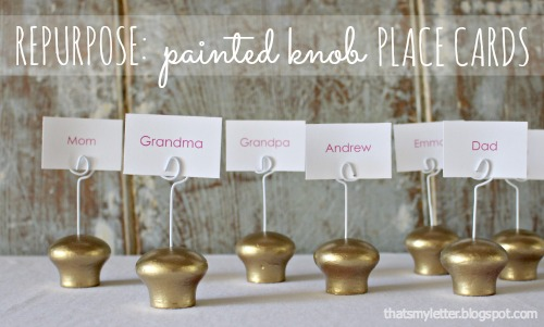 repurposed wood knobs into place card holders