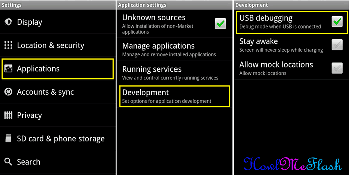 Enable USB Debugging Android 2.3