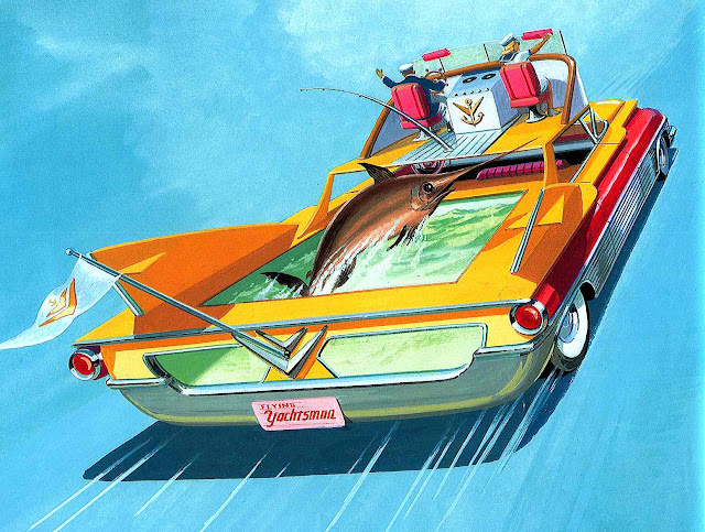a Bruce McCall illustration, The Yachtsman, a deap sea sport fisher's car