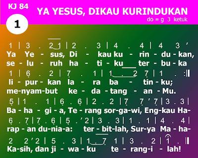Lirik dan Not Kidung Jemaat 84 Ya Yesus, Dikau Kurindukan