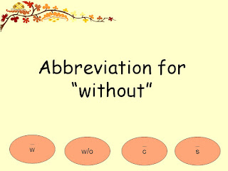 Abbreviation for without
