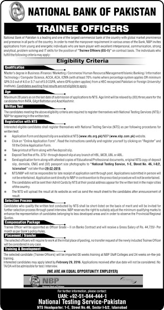 Trainee Officers Jobs in National bank of Pakistan
