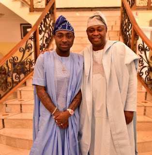 Davido and his father on wedding occasion