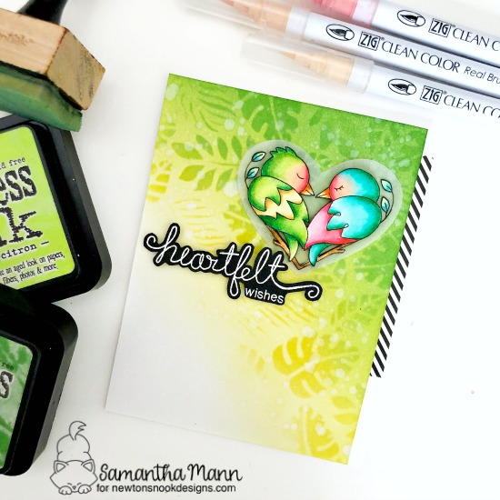 Heartfelt Wishes Love Birds card by Samantha Mann | Darling Duos Stamp Set, Simply Sentimental Stamp Set and Tropical Leaves Stencil by Newton's Nook Designs #newtonsnook #handmade