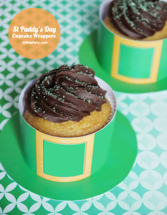 Free Printable Leprechaun Hat Cupcake Wrappers for St Patrick's Day - BirdsParty.com