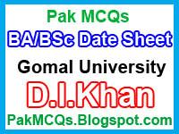 BA / BSC date sheet annual exam 2016, Dera Board, gomal university board, date sheet BA / BSC Date sheet 2016